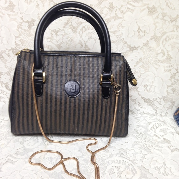 Fendi Handbags - Authentic Black Pekin Strip Handbag-Crossbody